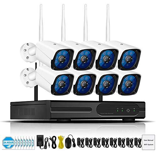 JKYQ 2MP Wireless WiFi Überwachungskamera Set Remote Viewing Night Vision Bewegungserkennung Surveillance System 1080P Monitor Kamera für Android/iOS/PC,8cameras2TB