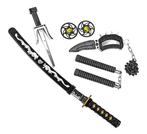 Katana KINDER NINJA Samurai Schwert Kostüm Säbel Dolch Messer XXL Set Zubehör (Kostüm Samurai-schwert)