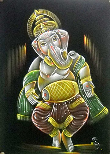 "Indian Lord Ganesha Playing Mridangam/Dholak Handmade Oil Painting on Velvet Fabric Wall Hanging: Size - 20""x28"" Inches"