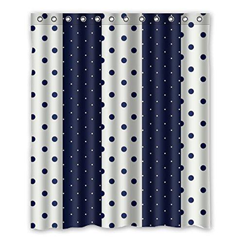 """Stile fresco. Denim color punti, piccoli puntini bianchi. Lo sfondo è il colore del denim, bianco disegno poliestere tessuti impermeabile bagno tende da doccia 150 cm x183 cm (60 """"X72""""), 12 anelli di tenda."""