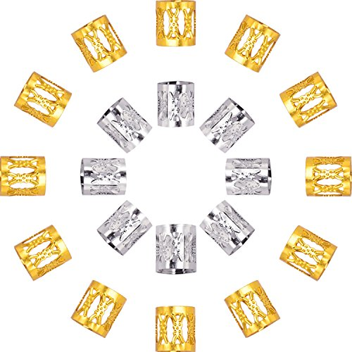 Dreadlocks Beads Aluminum Dread Locks Metal Cuffs Hair Decoration Braiding Hair Jewelry, 50 Pieces