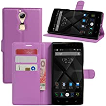 Doogee F5funda, DOOGEE F5Pro Case, hualubro [Kickstand] [Protección Todo Alrededor] Funda de piel sintética Teléfono móvil Carcasa Con Ranura para tarjeta DOOGEE F5/doogee F5Pro 5.5pulgadas Smartphone, piel sintética, Morado, For Doogee F5 / Doogee F5 Pro