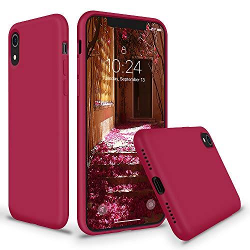 SURPHY iPhone XR Silikon Hülle, iPhone XR Case Silikon, Schutzschale vor Stürzen und Stößen Silikon Handyhülle für Apple iPhone XR 6,1 Zoll (2018) Sandrosa