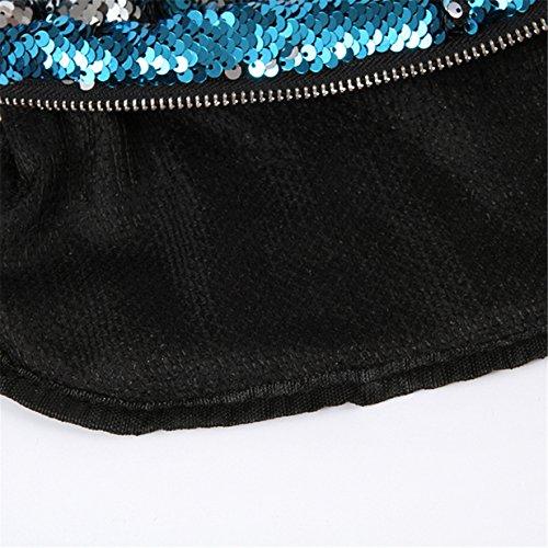 Lalang Farbige Pailletten Meerjungfrau Stil Beiläufige Retro Paket Beutel Messenger Handtasche Schultertasche (Blau + Violett) Blau + Silber