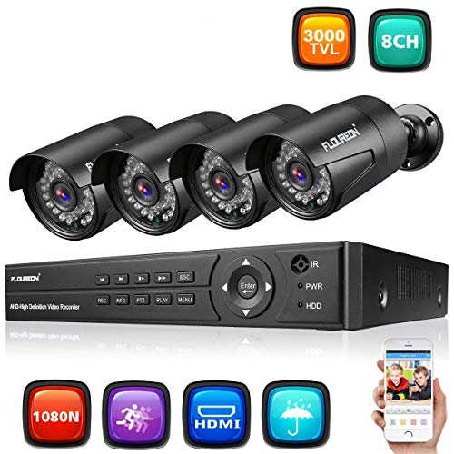 FLOUREON Sytème de Sécurité 8CH DVR AHD 1080N ONVIF + 4 Caméra de Sécurité 1080P 3000TVL HD Etanche Système de Surveillance Vision Nocturne Détection de Mouvement Vision à Distance par Phone P2P