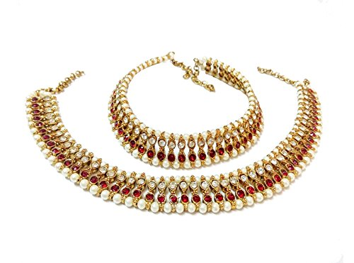 Glittering World Designer Red Stone and Pearl Alloy Crystal Anklets For Women