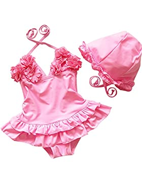 Free Fisher- Bambina Costumi da Bagno Bikini con l'arco Swimsuit Swimwear Dress Playsuit Up