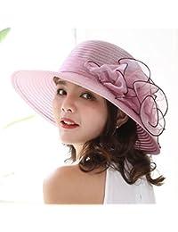 Aolvo Sombrero para mujer, diseño de iglesia, sombrero de peluche de Derby, sombrero de verano, playa, playa, con diseño floral y flores para novia, fiesta de té, boda multicolor Pink 1