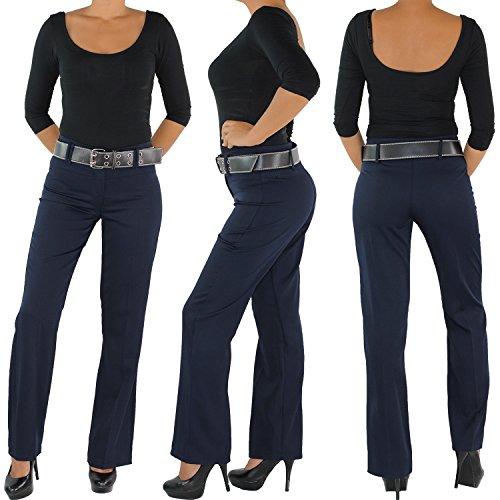 Damen Business Hose + Gürtel Schlaghose Stoffhose Bootcut Elegant Classic Blau Blau