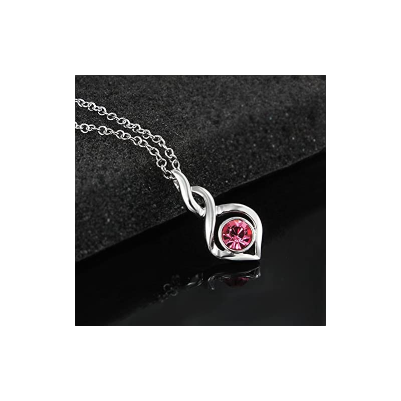 """AmberMa""""Fade Love"""" Glamours Twist Charm Pendant Necklace Sterling Silver Cubic Zirconia Fashion for Women Girls"""