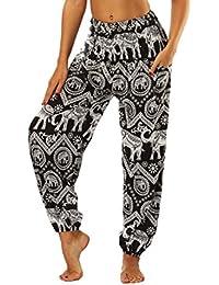 JLTPH Femme Pantalon Sarouel Bohémien Éléphant Imprimé Thai Harem Pantalons  Smocké Taille Haute Yoga Pantalon Jogging 7b3b758e6ccb
