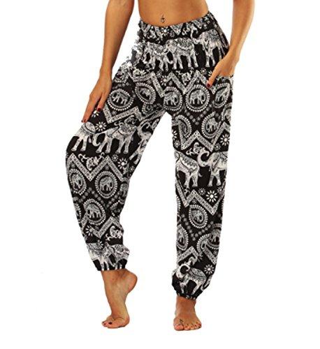 JLTPH Damen Haremshose Yogahose Pumphose Elefant Gedruckt Bohemian Yoga Pilates Hippie Kittel Hohe Taille Lange Hosen Casual -