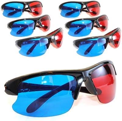 Juego de 63d gafas para TV o PC Juegos (Rojo/Azul), gafas anaglifo para televisor, deportivo 3d de vasos con aspecto de anaglyphen Tecnología en mitad de la Nata–Marca Ganzoo
