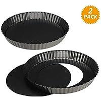 WisFox 2 Non-sticks Pan de Quiche de 8,8 pulgadas, Bandeja de Tarta de Tartas suelta extraíble, Pan de Quiche de Tartas Redondas con Base Desmontable