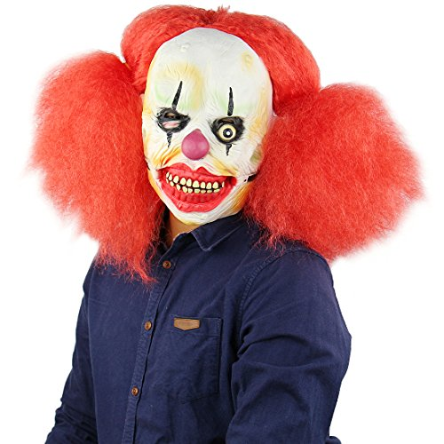 thematys Rote Haare Horror Clown Maske #1 - perfekt für Fasching, Karneval & Halloween - Kostüm für Erwachsene - Latex, Unisex Einheitsgröße
