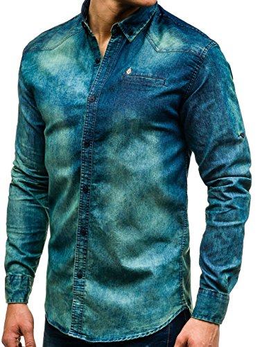 BOLF Mens chemise en jean casual shirt shirt hommes Scène Jeans Mix 2B2 BLEU FORCE-GRIS