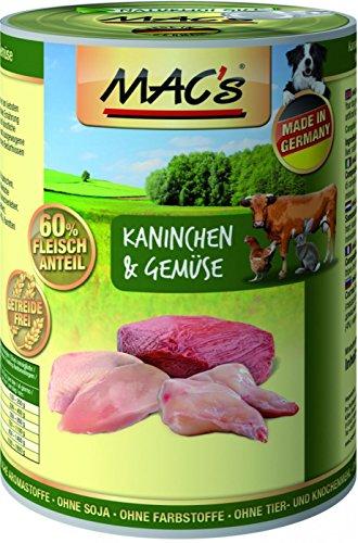 MACs Dog Kaninchen & Gemüse   6x 400g Hundefutter nass getreidefrei