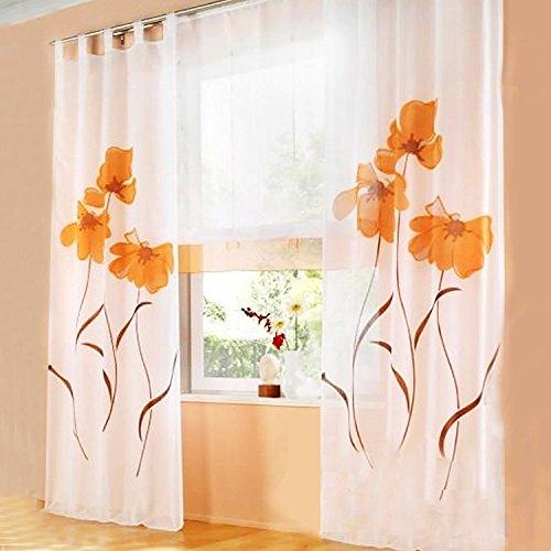 Angel bud 1 pezzo tenda lunga - tende trasparenti fiori stampati - tulle tende per camera da letto, balcone e soggiorno - larghezza 150 cm x altezza 270 cm - arancione