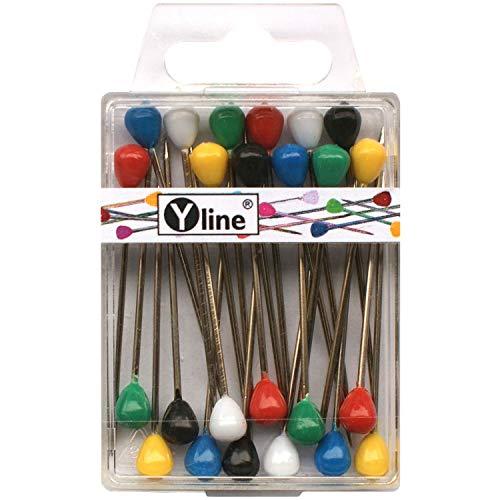 24 Stück Tapezierstecker mit Kunststoffkopf versch. farbig ca. 60 mm, Schmuck- Nadeln Stecknadeln groß, sl, 3047