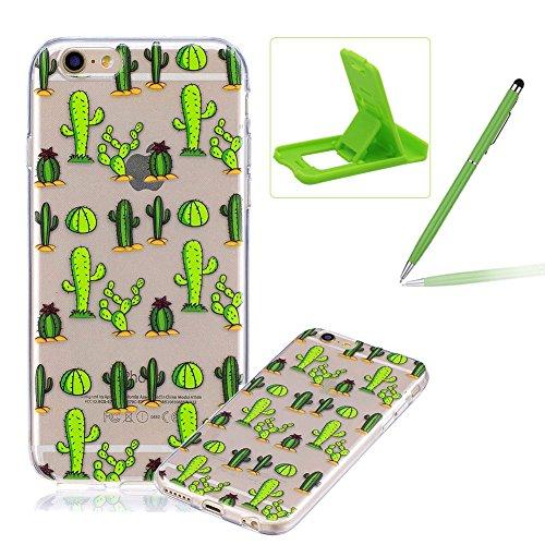 Coque en Silicone pour iPhone 6S, Herzzer Transparente TPU Arrière Case Doux Gel Ultra Mince Flexible Etui Housse Flamingos Motif Rubber Skin Bonne Qualité Housse de Protection pour iPhone 6/ iPhone 6 Cactus Vert