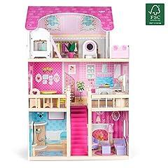 Idea Regalo - Kledio Casa di Bambole in Legno per Bambini e Bambine dai 3 Anni in Su - Legno FSC® 100%, incl. Accessori da 16 pz - 90 x 60 x 23 cm