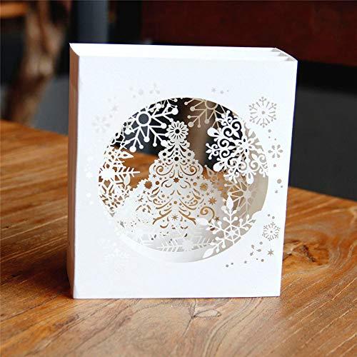 (Vazan - 1 PC Handgemachte frohe Weihnachten Karten 3D-Pop-Up-Baum Box Schneeflocke Grußkarte Craft-Feiertags-Einladung Geschenk [2pc])