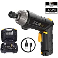 Electric Screwdriver, TECCPO 6Nm Cordless Screwdriver 3.6V, Adjustable Two-Position Handle, 45 Pcs Accessories, 9+1 Torque Setting, Rechargeable Battery USB Charging - TDSC01P