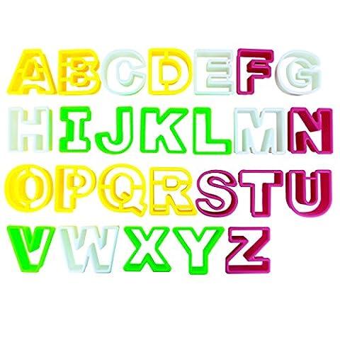 26 Alphabet Keks-Ausstecher Buchstaben Set von Kurtzy aus starkem Kunststoff, einschließlich der Buchstaben A-Z. Perfekte Formen für Kekse, Kuchendekoration, Glasur, Fondant, Zuckerarbeiten