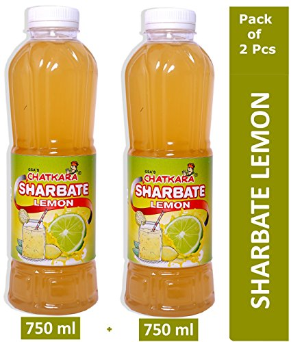 GSA's Chatkara® Lemon (750ml+750ml) Syrup Squash Sharbat for Drink/Milkshake/Falooda/Ice-Cream/Lassi/Liquids/Juice/Soda/Cocktails/Milk Powder. Pack of 2 Bottles.