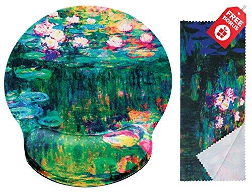 Claude Monet Seerosen VI Ergonomische Design-Mauspad mit Handgelenkauflage Hand Support. Runder großer Mausbereich. Passendes Mikrofaser-ReinigungstuchGroßartig für Gaming & Arbeit