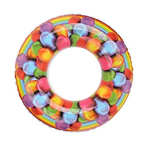 Lanlan Swimming Pool Toy Inflatable Swim Ring Colorful Printing Swim Circle Floating Swimming Laps For Kids