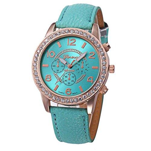 Fitt orologio da polso da donna al quarzo analogico in pelle con diamante di lusso, classico orologio da donna (blu)