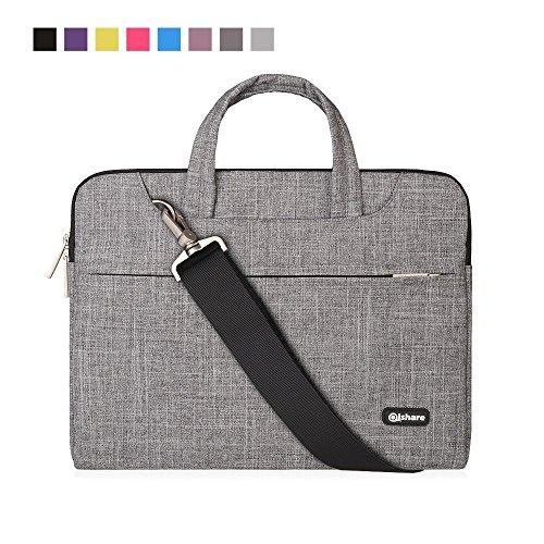 Qishare 15,6-16-Zoll-Laptoptasche,multifunktionale Polyester-Laptoptasche, Verstellbarer Schultergurt und unterdrückter Griff, tragbarer Dokumentenordner (15,6-16-Zoll Graue Linien) Intel Macbook Laptops
