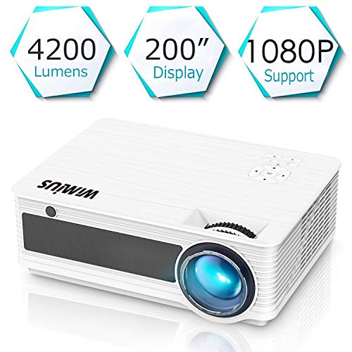 "Videoproiettore,WiMiUS 4200 Lumen LED Proiettore Full HD Supporto 1080P Con 200"" Display Home Cinema Multimedia Proiettore per iPhone Smartphone Tablet PC Computer con TV/AV/VGA/USB/HDMI (Bianco)"