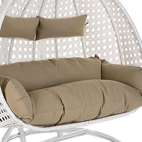 Home Deluxe Polyrattan Hängesessel Twin XXL, inkl. Sitz- und Rückenkissen (weiß) -