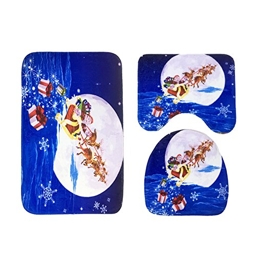 3 pieces de salle de bain contour tapis set flanelle non-slip de toilette trois sets tapis piédestal couvercle de toilette mat-O 18x29inch+16x18incn+16x16inch