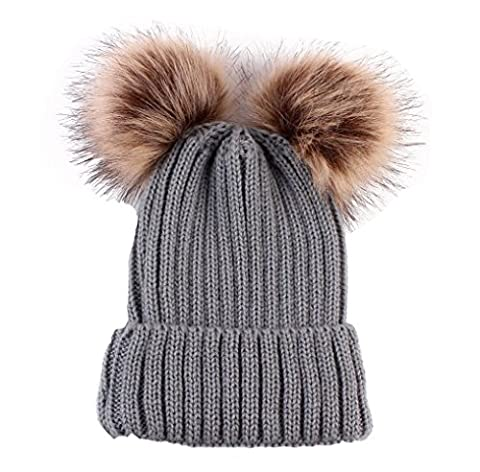 ILOVEDIY Damen Mädchen Strickmütze mit Bommel Waschbär Pom Pom Beanie Hüte Winter (Grau)