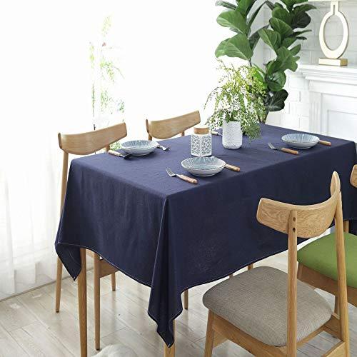 Llcf Tischdecke Dunkelblau Einfarbig Einfache Baumwolle UndLeinenKonferenztischdecke Hotel Western RestaurantKaffeehausDekoration WaschbarTischdecke 140 * 140 cm