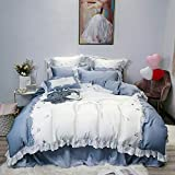 Youlubedding Einfache und Elegante Elegante Spitze Bettwäsche, 60 s Tencel Bestickt (Bettbezug, Blatt, Kissenbezug)