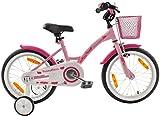 PROMETHEUS Kinderfahrrad 16 Zoll Mädchen Kinderrad in Farbe Rosa Lila & Weiß mit Stützrädern | Seitenzugbremse und Rücktrittbremse | ab 5 Jahren | 16