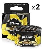 AREON Ken Désodorisant Voiture Vanille Noir en Pot Couvercle Ventilé Réglable 3D (Lot de 2)