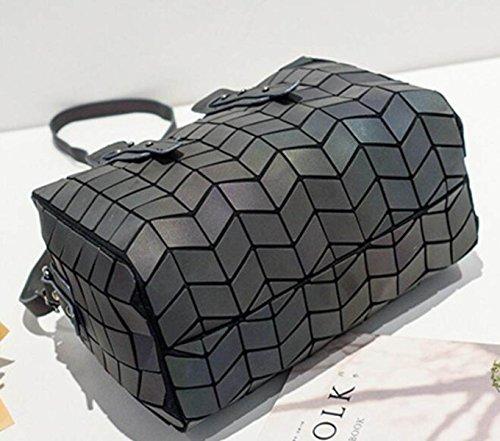 Borsa Portatile Borsa A Tracolla Borsa Portatile Borsa A Tracolla Luminosa Triangular Lingge Stitching Black
