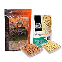 Wonderland Foods Dry Fruits Combo of California Almonds 200g + Roasted & Salted Cashews 100g