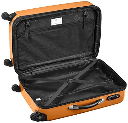 HAUPTSTADTKOFFER - Alex - 2er Koffer-Set Hartschale glänzend, TSA, 65 cm + 55 cm, 74 Liter + 42 Liter, Orange-Aubergine Waldgrün-Orange
