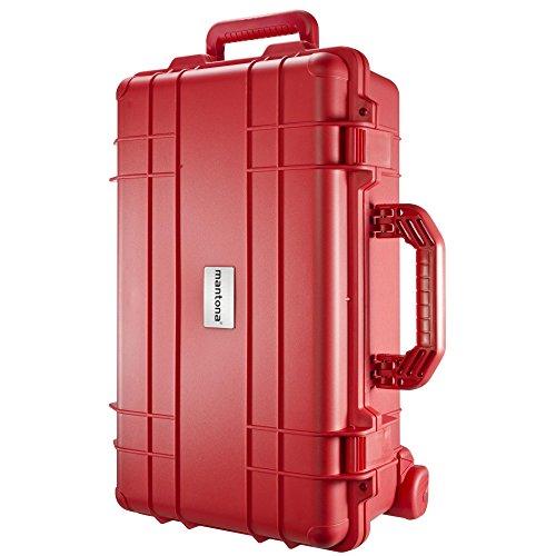 Mantona Outdoor Foto Koffer-Trolley für DSLR Kamera, GoPro Actioncam, Foto-Equipment uvm. (wasserdicht, stoßfest, staubdicht) rot