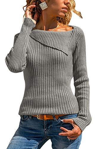 Yidarton Damen Strick Sweatshirt Langarm Asymmetrische Ausschnitt Bluse Oberteile Tunika Strickpullover T-Shirt (Medium, Grau)