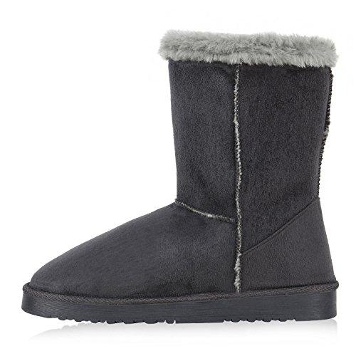 Warm Gefütterte Damen Stiefel Boots Schlupfstiefel Kunstfell Schuhe Grau Knopf