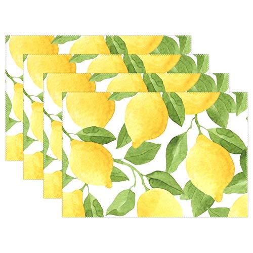 Jereee Aquarell Zitrone Obst Set von 1 Platzdeckchen, hitzebeständig, waschbar, schmutzabweisend, rutschfest, Polyester, für Küche und Esszimmer, Vinyl, 6er-Set