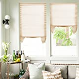 Adhesivo Estor plisado ciego sin taladrar 110x182.88cm 2 piezas de cortina beige Dimensión plegable no tejida ajustable para puerta de la ventana