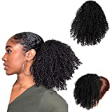 Efanhouy BoucléS Queue De Cheval Cheveux Humains, Naturel Africain Puff Cordon Queue De Cheval DéGradé Africain Perruque Extension Cheveux Avec Clips Fixation (Multicolore)